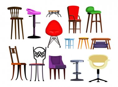 Chairs set illustration. Different chairs on white background. Can be used for topics like house interior, design, furniture icon