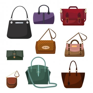 Handbags for women set. Collection of fashion accessories. Can be used for topics like style, trend, elegance