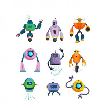 Cute futuristic robots flat icon set. Cartoon cyborg and guardian characters isolated vector illustration collection. Games and modern robotic technology concept icon