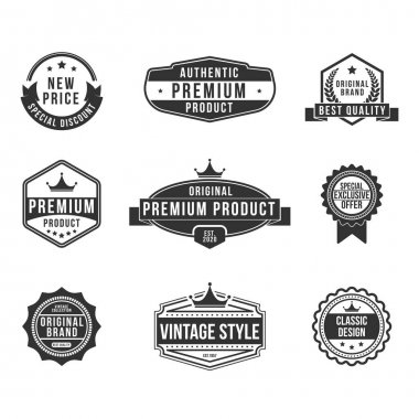 Vintage premium product flat badges set. Retro design for exclusive shields, discount stamps and classic logos vector illustration collection. Organic food and summer concept icon