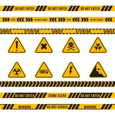 Different danger ribbon and sign flat icon set. Yellow attention, poison, high voltage, radiation, biohazard and falling warnings vector illustration collection. Accident and construction concept icon