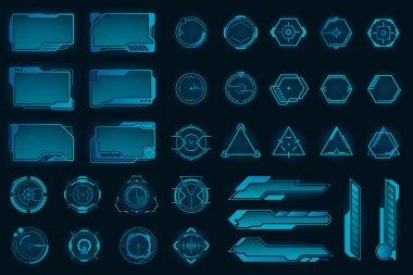Different HUD elements flat frames set. Modern VR user interface, dashboard and infographic framework vector illustration collection. Digital technology and design concept icon