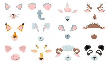 Various animal phone masks flat icon set. Cartoon cat, fox, pig, elephant, bunny, mouse ears, nose and eyes isolated vector illustration collection. Avatar design and smartphone application concept icon