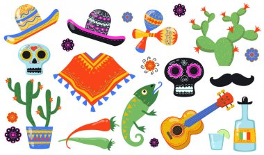 Various Mexican symbols flat icon set. Traditional Latino party with sombrero, taco food, cactus, guitar, isolated vector illustration collection. Mexico, culture and decoration concept icon