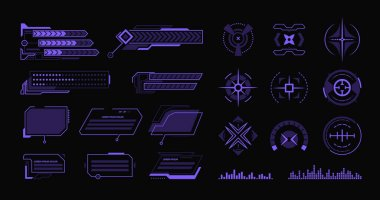 Various modern hud flat elements set. Hologram dashboard and data frameworks vector illustration collection. Interface design and digital technology concept icon