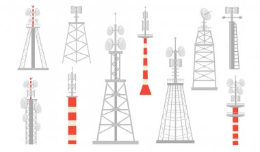 Various radio towers flat icon set. Wireless satellite towered wave transmitters for broadcast isolated vector illustration collection. Telecommunication and signal transmission concept icon