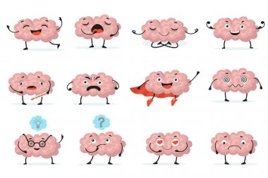 Cute brainy character expression flat icon set. Cartoon brain with emotions on white background isolated vector illustration collection. Brainpower, mind and intelligence concept icon