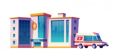 Hospital building and ambulance car isolated on white background. Vector cartoon illustration of medical clinic, urgent first aid service, emergency rescue and ambulatory service icon
