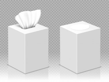 Box with white paper napkins. Vector realistic mockup of blank open and closed cardboard package with facial tissues or handkerchiefs isolated on transparent background icon