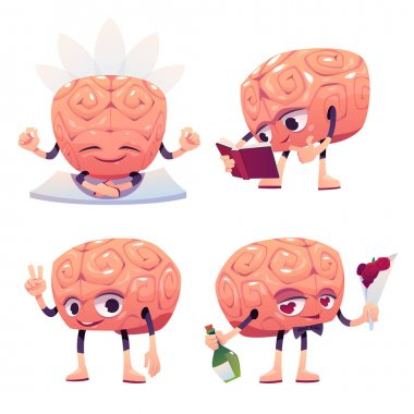 Cute brain character in different poses. Vector set of cartoon chat bot, funny human brain reading book, meditating, showing victory sign and falling in love. Creative emoji set, smart mascot icon