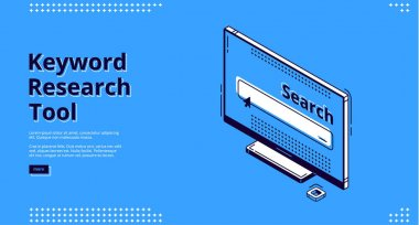 Keyword research tool isometric landing page. Computer monitor with search box on screen. Seo optimization, analysis service 3d vector illustration, web banner line art