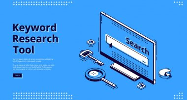 Keyword research tool isometric landing page. Key, magnifying glass and pie chart randomly lying around computer monitor. Seo optimization, analysis service 3d vector illustration, web banner line art