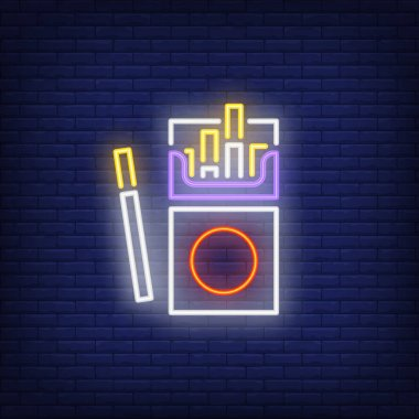 Open cigarette pack neon sign. Smoking, healthcare and addiction concept. Advertisement design. Night bright colorful billboard, light banner. Vector illustration in neon style. icon