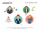 Čtyři pracovníci zpracovávají šablonu grafu pro prezentaci. Vektorová ilustrace. Abstraktní prvky diagramu, graf. Workflow, startup, planning, business or teamwork concept for infographic, report.
