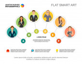 Šest pracovních týmů zpracovává šablonu pro prezentaci. Vizualizace obchodních dat. Strategie, zaměstnanci, nápad, plán, týmová práce nebo marketingová kreativní koncepce pro infografii, sestavu, návrh projektu.