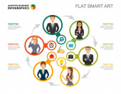 Šest zaměstnanců zpracovává šablonu snímku grafu. Obchodní data. Pracovní postup, zaměstnání, design. Kreativní koncept pro infografii, projekt. Lze použít pro témata jako plánování, management, týmová práce.