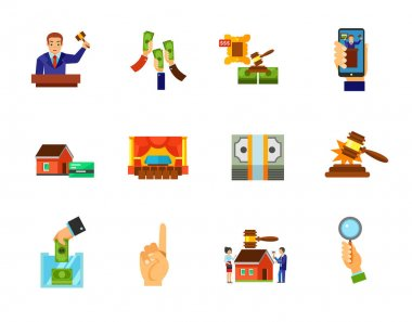 Auction icon set. Auctioneer Raising money Lot Internet auction Interior Sold sound Building auction Bidder hand. Contains bonus icons of Mortgage Dollar pack Donation box Number one gesture icon