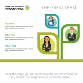 Stromový graf se třemi možnostmi. Struktura týmu, lidské zdroje, stromové schéma. Tvůrčí koncept pro infografii, prezentaci, projekt. Lze použít pro témata jako management, workflow, týmová práce.