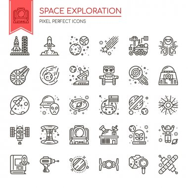 Space Exploration, Thin Line and Pixel Perfect Icon