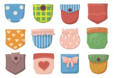 Variety of colorful patch pockets flat item set. Cartoon pockets with seams, buttons and flaps for shirt of different colors isolated vector illustration collection. Clothes and textile concept icon
