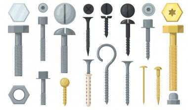 Variety of bolts and screws flat set for web design. Cartoon silver nails, nuts and washers isolated vector illustration collection. Hardware and repairing tools interior concept icon