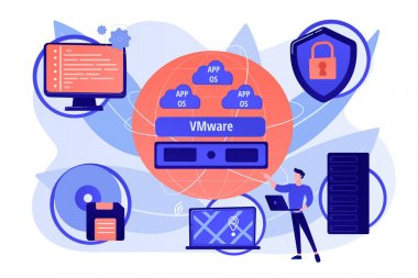 Virtual machines. Operating system and data storage. Virtualization technology, process virtual representation, reduce IT expenses concept. Pink coral blue vector isolated illustration