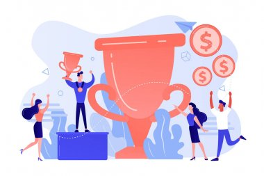 Competition winner holding golden trophy and medal. Leadership and achievement. Prize pool, prize money distribution, tournament main prize concept. Pink coral blue vector isolated illustration