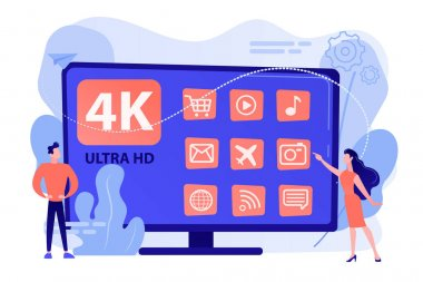 Tiny business people watching modern ultra hd smart television. UHD smart TV, ultra high definition, 4k 8k display technology concept. Pinkish coral bluevector isolated illustration