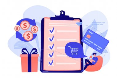 Cardholder with smartphone shopping online and getting cach rewards and checklist. Cash back service, cash back rewards, money back concept. Pink coral blue vector isolated illustration