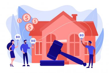 Property buying and selling. Auction house, exclusive bids here, consecutive biddings processing, business that runs auctions concept. Pinkish coral bluevector isolated illustration