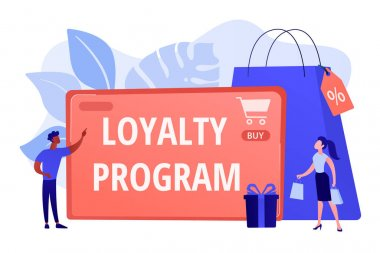 Rewards scheme for customers. Marketing strategy. Clients attraction. Loyalty program, personalized promotion, use your purchase history concept. Pink coral blue vector isolated illustration