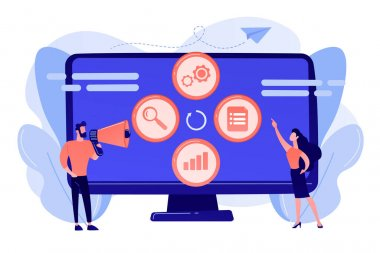 Tiny people managers plan and analyse campaign. Marketing campaign management, marketing strategy execution, campaign efficiency control concept. Pink coral blue vector isolated illustration