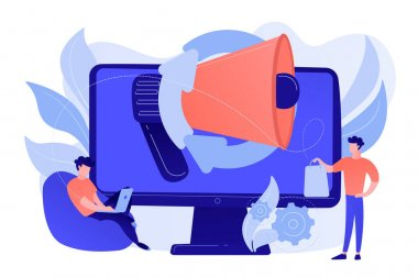 Computer with megaphone and businessman with laptop and shopping bag. Digital marketing, e-commerce, social media marketing concept. Pinkish coral bluevector isolated illustration