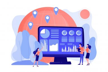 Global trading, stock market analysis. International commerce statistics analyzing, economic globalization. Environment data analytics concept. Pinkish coral bluevector isolated illustration