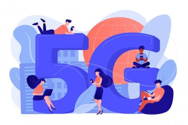 Tiny business people with mobile devices using 5g technology. 5g network, next generation connectivity, modern mobile communication concept. Pinkish coral bluevector isolated illustration