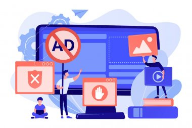Programmer developing anti virus program. Banned Internet content. Ad blocking software, removing online advertising, ad filtering tools concept. Pink coral blue vector isolated illustration