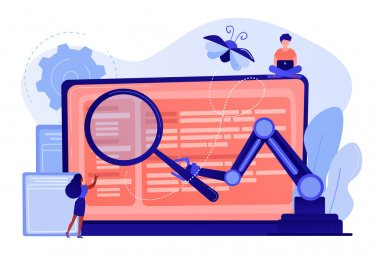 Laptop and software assisting in testing process, tiny people testers. Automated testing, automotive executed test, software auto tester concept. Pinkish coral bluevector isolated illustration
