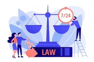 Attorney company, legal consulting and support. Notary clients. Legal services, lawyer referral service, get professional legal help concept. Pink coral blue vector isolated illustration