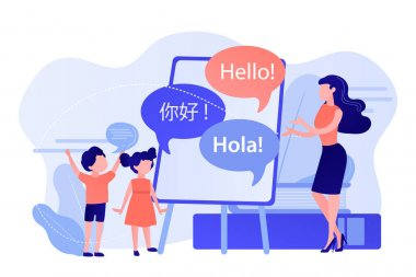 Tiny people, teacher and kids in camp learning English and Chinese. Language learning camp, summer language program, learn foreign languages concept. Pinkish coral bluevector isolated illustration