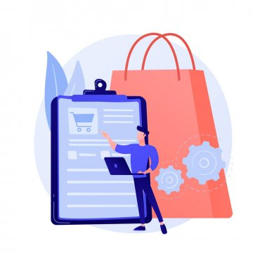 Order tracking program, convenient service. Shopping list, basket content, purchase package. Mobile software, smartphone application. Vector isolated concept metaphor illustration. icon