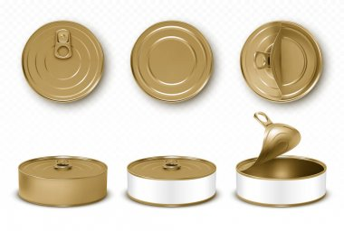 Gold tin cans, fish or pet food mockup with pull ring top and front view. Closed and open empty yellow canned round open key metal jars, isolated aluminium preserve canisters, Realistic 3d vector set icon