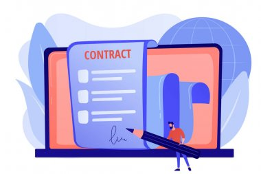 Business agreement. Legal arrangement. Employee hiring. Electronic contract, ecommerce business documents, digital signature validation concept. Pink coral blue vector isolated illustration