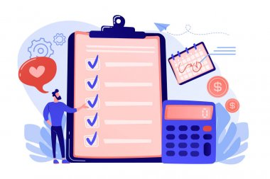 Financial analyst planning at checklist on clipboard, calculator and calendar. Budget planning, balanced budget, company budget management concept. Pink coral blue vector isolated illustration