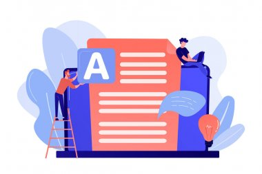 Copywriter at huge laptop writting creative advertising text. Copywriting job, home based copywriter, freelance copywriting concept. Pink coral blue vector isolated illustration