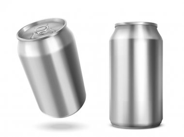 Tin can with open key front and angle view. Blank cylinder metal jar with pull ring on lid, silver colored aluminium canister for cold drink isolated on white background, Realistic 3d vector mockup icon