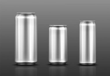 Aluminium can for soda or beer isolated on gray background. Vector realistic mockup of metal tin cans for drink different shapes. 3d template of blank silver package for cold beverage icon