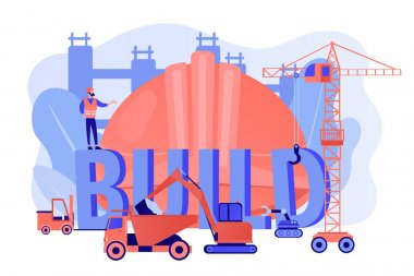 Building business transportation. Modern construction machinery, heavy equipment for construction, industrial and heavy equipment for rent concept. Pinkish coral blue vector isolated illustration