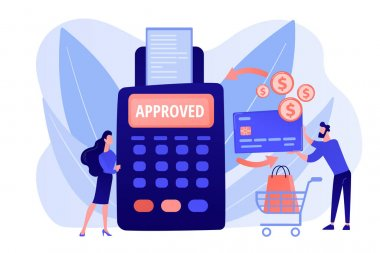 Money transfer. Financial services. POS terminal. Online shopping. Payment processing, easy payment systems, digital payment service concept. Pink coral blue vector isolated illustration