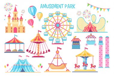 Colorful amusement park flat elements set. Cartoon carnival, circus and funfair carousels isolated on white background vector illustration collection. Fantasy playground entertainment concept icon