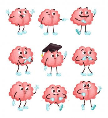 Trendy cute brain in different poses flat illustration set. Cartoon brainy character emotions isolated vector illustration collection. Brainpower, mind and intelligence concept icon